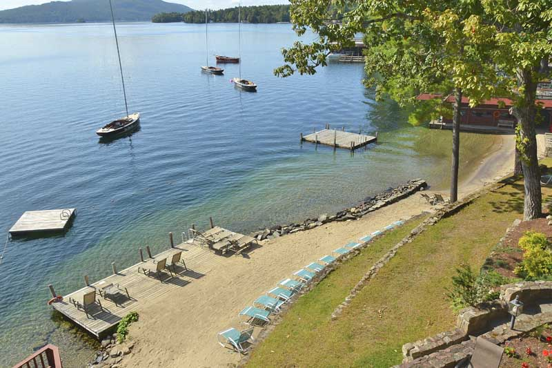 Canoe Island Lodge beach on Lake George, NY