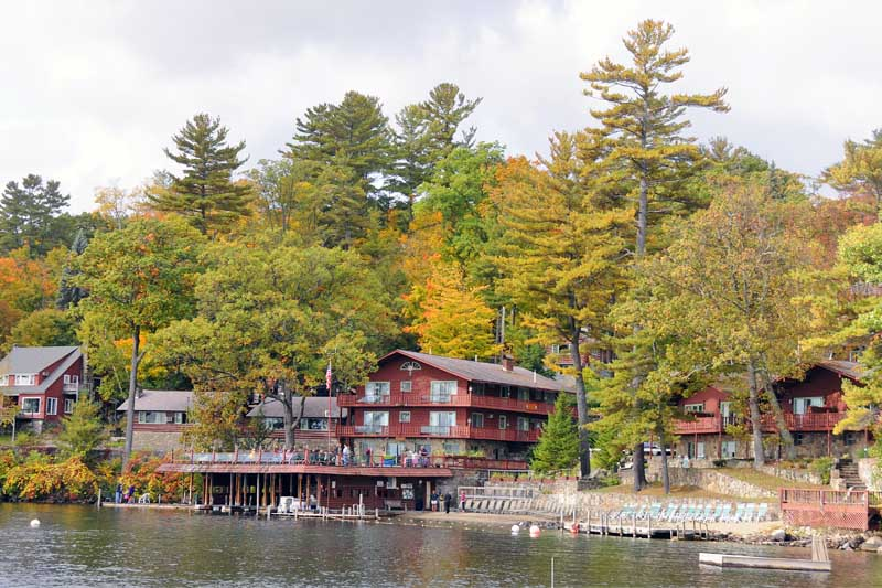 View of canoe island buildings from the lake