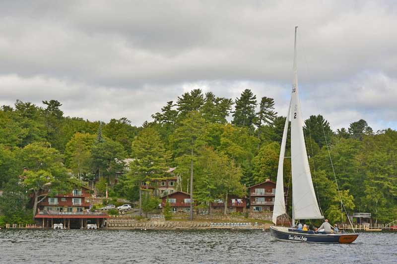 Sailing on Lake George near Canoe Island Resort