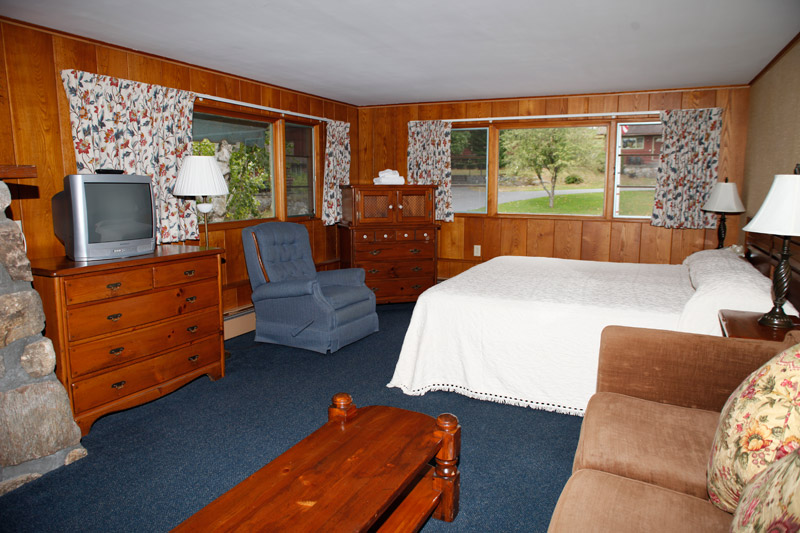 Adirondack Main Lodge room with couch, chair and TV