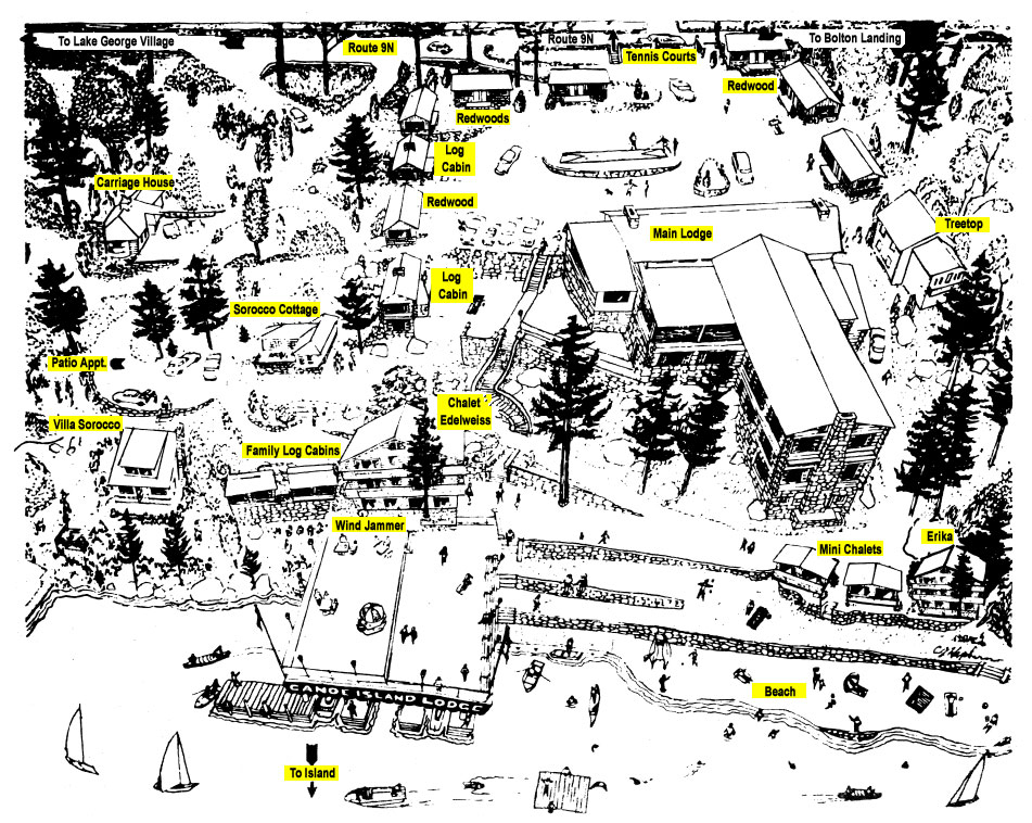 Canoe Island Lake George Resort Map