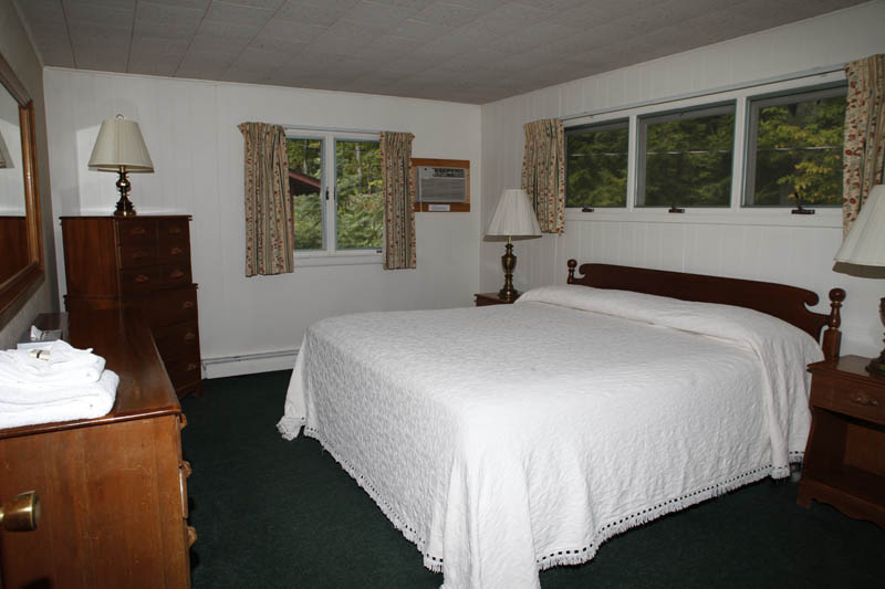 Adirondack Treetop Apartment with queen bed and white blanket